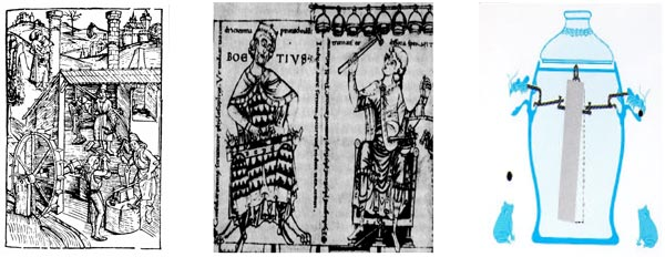Figure 1. Pythagoras studying the hammer sounds from the metal forging shop. Figure 2. Left: Boetitus using the Monocord. Right: Pythagoras in his studies of bell sounds. Figure 3. Design principle of a Chinese seismograph used in second century A.D.